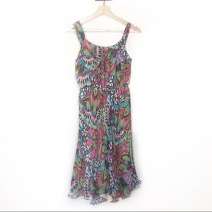 Milly of New York green pink patterned silk dress